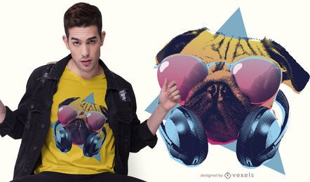 Design de camiseta de pug de festa
