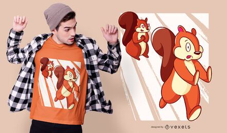 Design de t-shirt de perseguição de esquilo