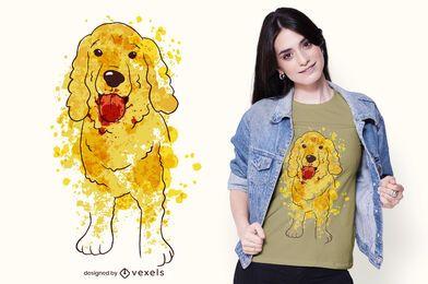 Desenho de camiseta cocker em aquarela