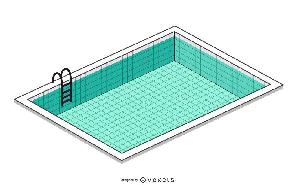Ilustração isométrica de piscina