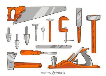 Conjunto de ilustração de ferramentas de carpintaria