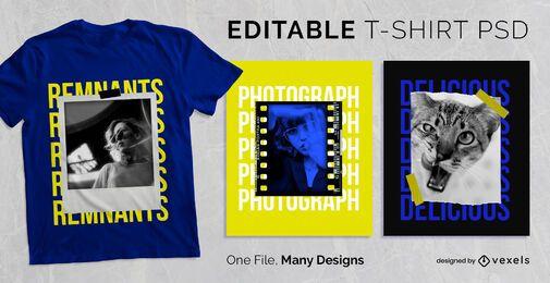 Moldura de foto com texto em design de camiseta PSD