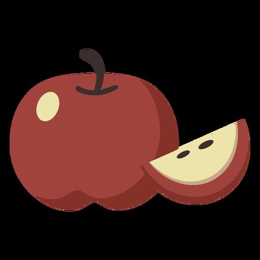 Rebanada de fruta plana de manzana