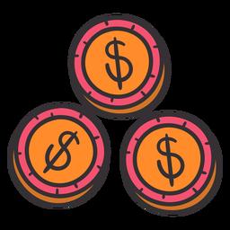 Dólares monedas coloridas