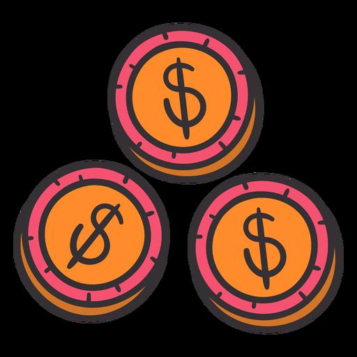 Dólares monedas de colores