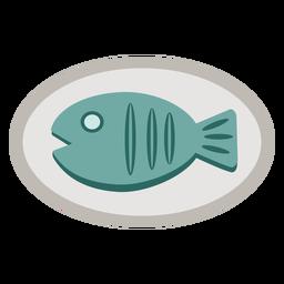 Plato de comida de pescado plano