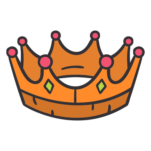 Corona dibujada a mano colorida