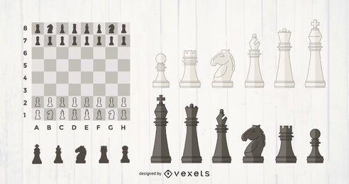 Schachfiguren gesetzt