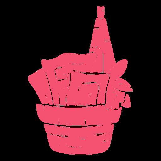 Cesta purim dibujada a mano rosa