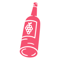 Botella de vino dibujada a mano rosa