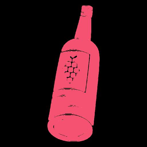 Wine hand drawn bottle pink