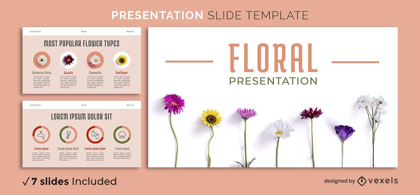 Einfache Blumenpräsentationsvorlage