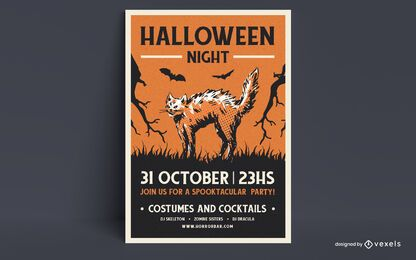 Design de cartaz de noite de Halloween