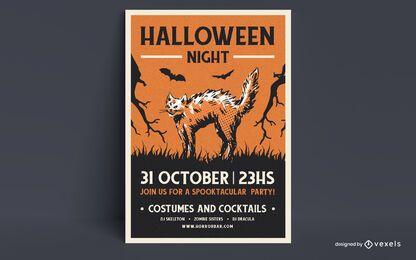 Diseño de cartel de noche de halloween