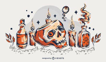 Halloween Schädel Illustration Design