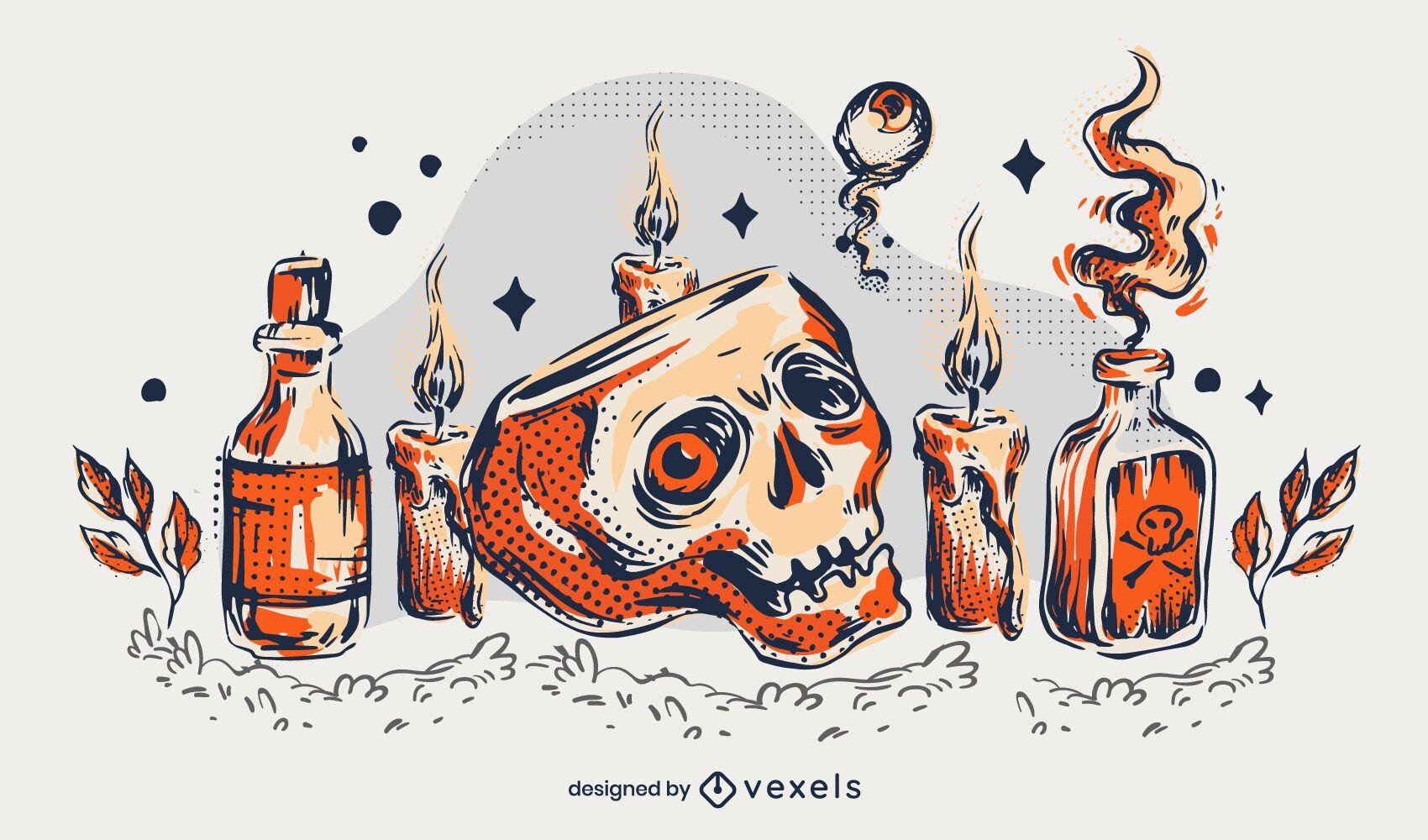 Diseño de ilustración de calavera de Halloween