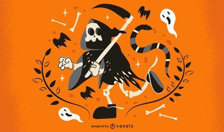 Desenho de ilustração de esqueleto de Halloween