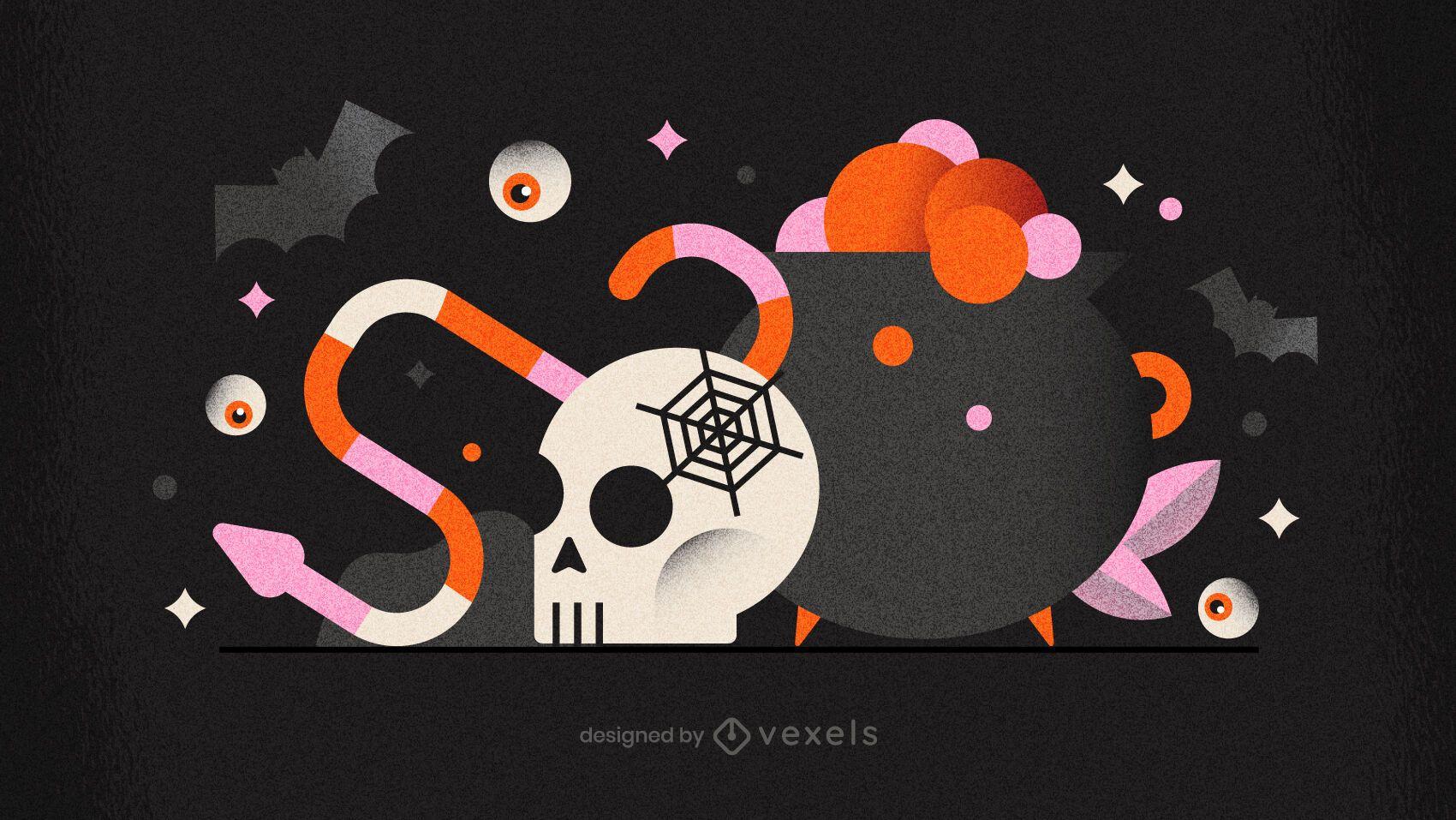 Halloween cauldron skull illustration design