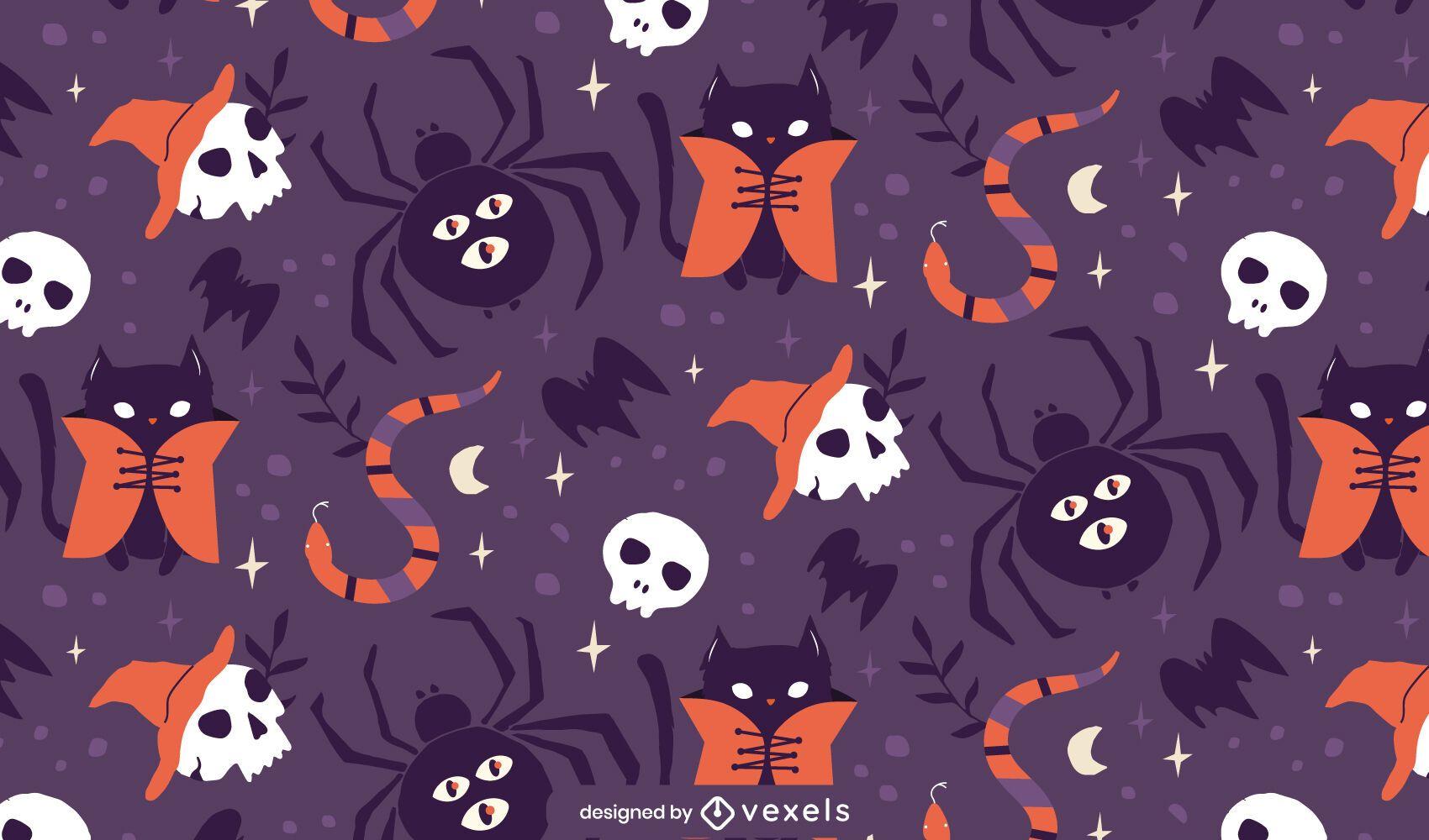 Desenho de padrão de aranhas de Halloween