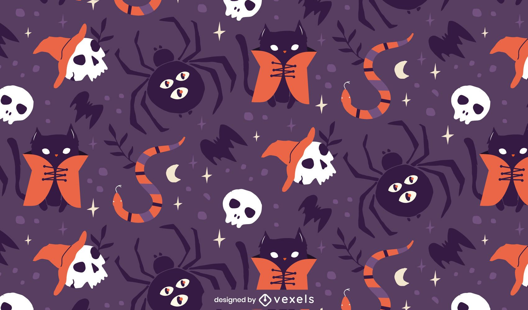 Halloween spiders pattern design