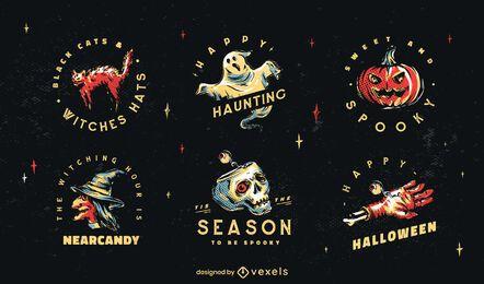 Conjunto de ilustración de insignia de Halloween