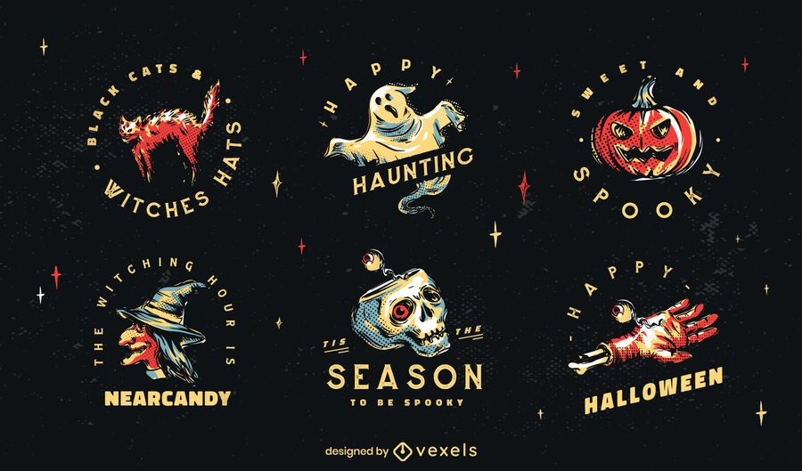Halloween-Abzeichen-Illustrationssatz