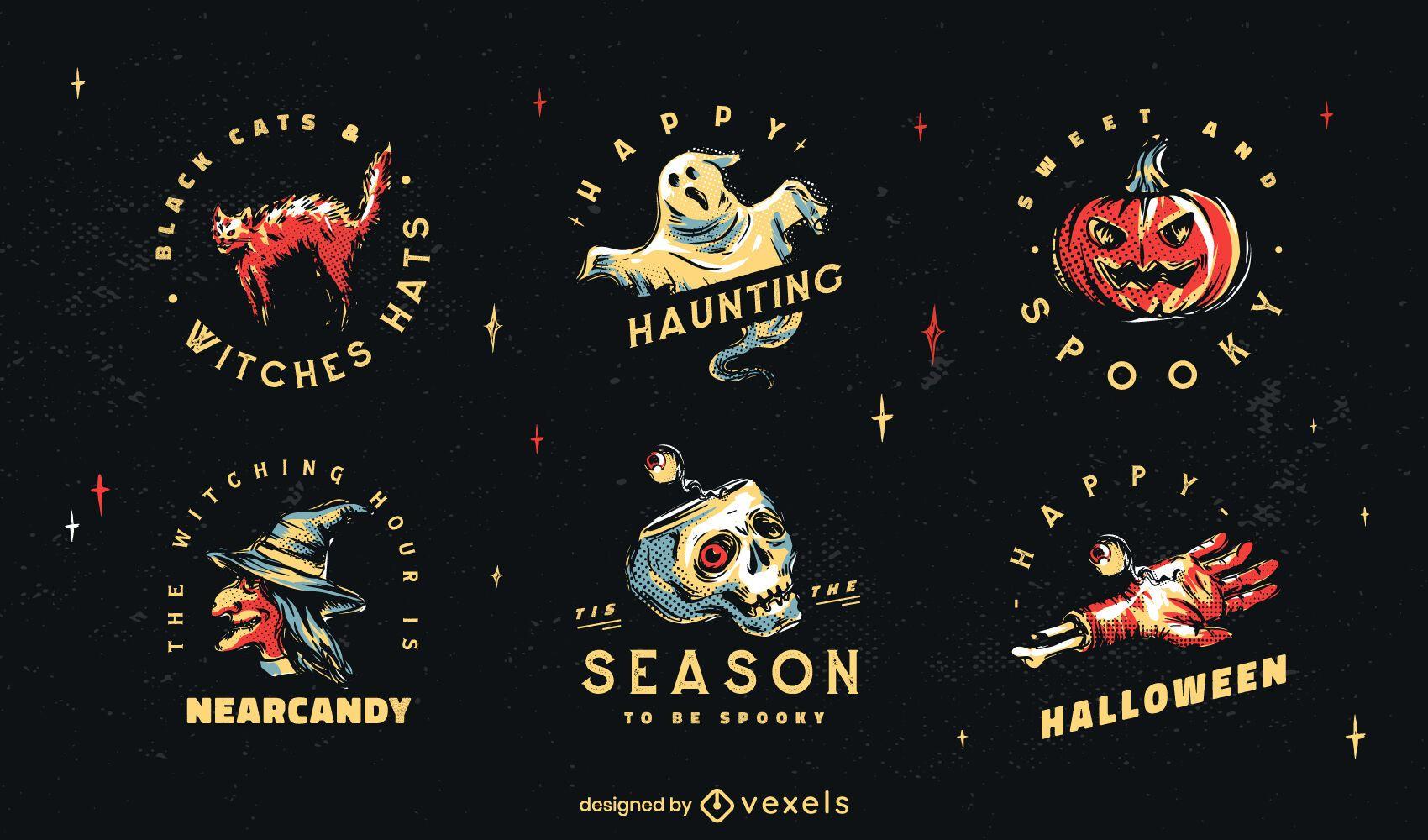 Conjunto de ilustração de distintivo de Halloween
