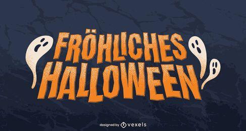 Glücklicher deutscher Halloween-Schriftzug