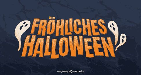 Happy halloween german lettering