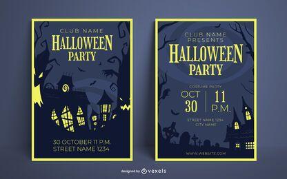 Conjunto de diseño de carteles de fiesta de Halloween
