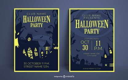 Halloween party poster design set