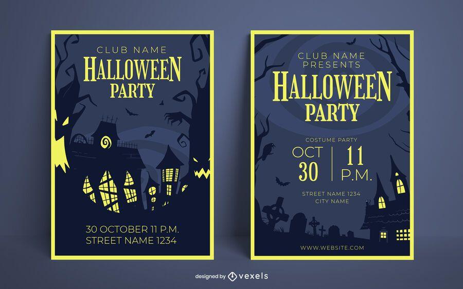 Conjunto de design de cartaz de festa de Halloween