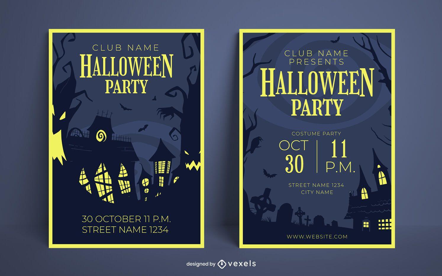 Halloween party poster design set
