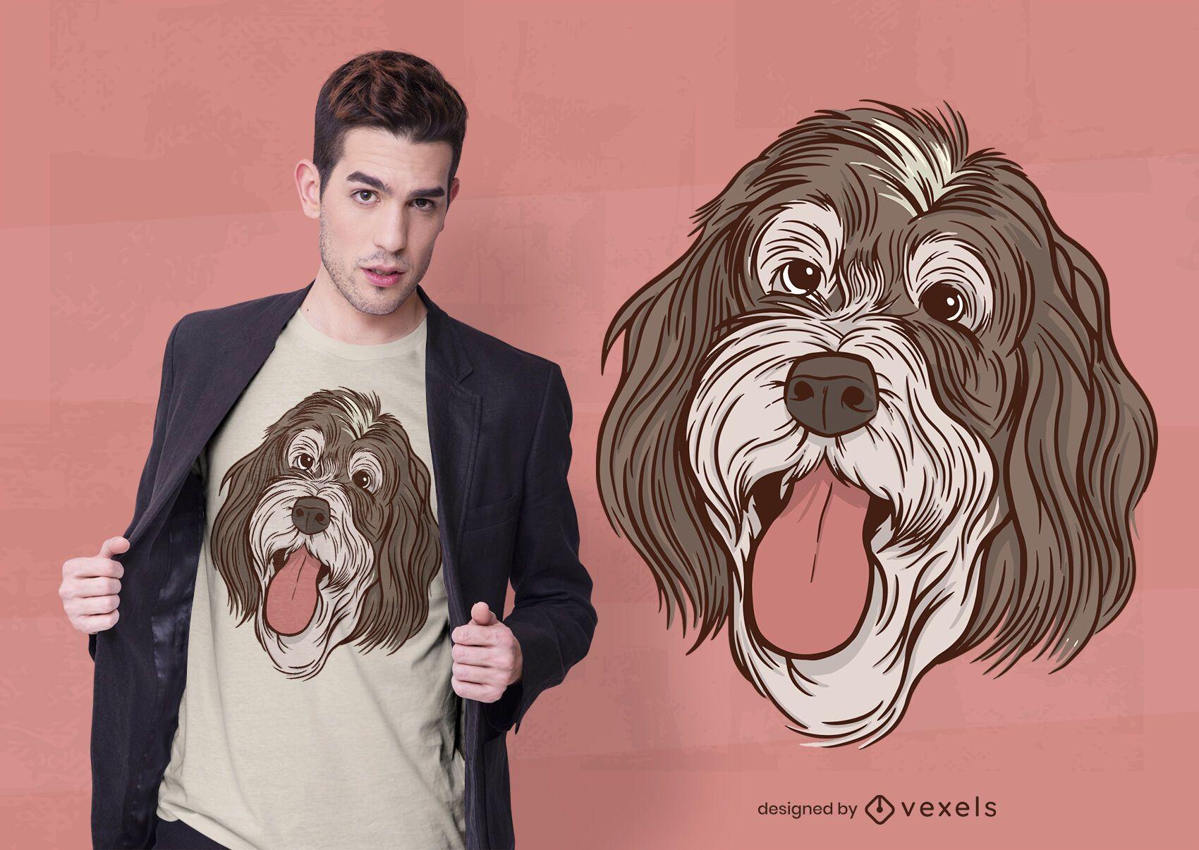 Diseño de camiseta con ilustración de bernedoodle