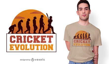 Design de t-shirt de evolução de críquete