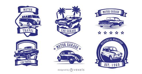 Vintage car badge set