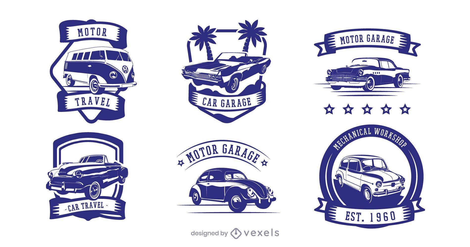 Vintage car badge set