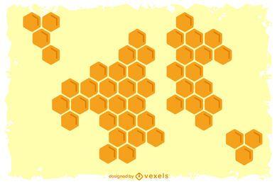 Favo de mel fundo amarelo Design