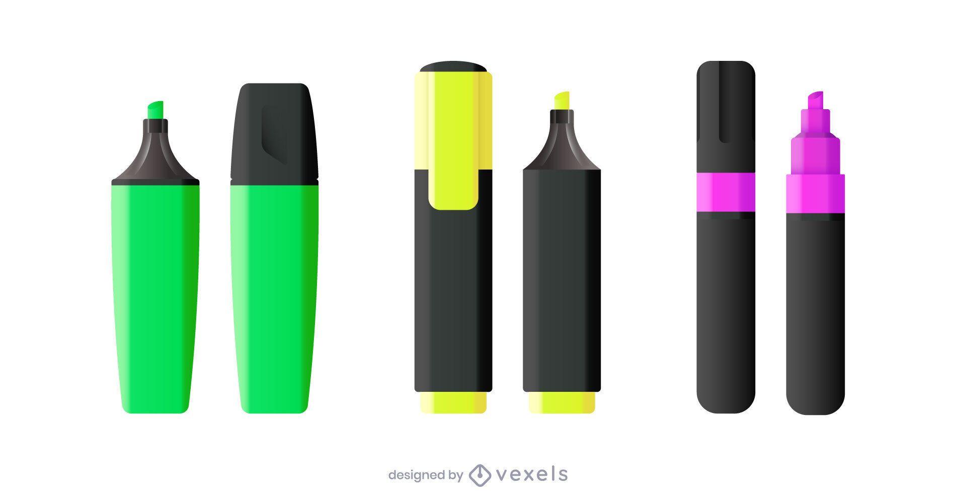 Realistic highlighter pen illustration set