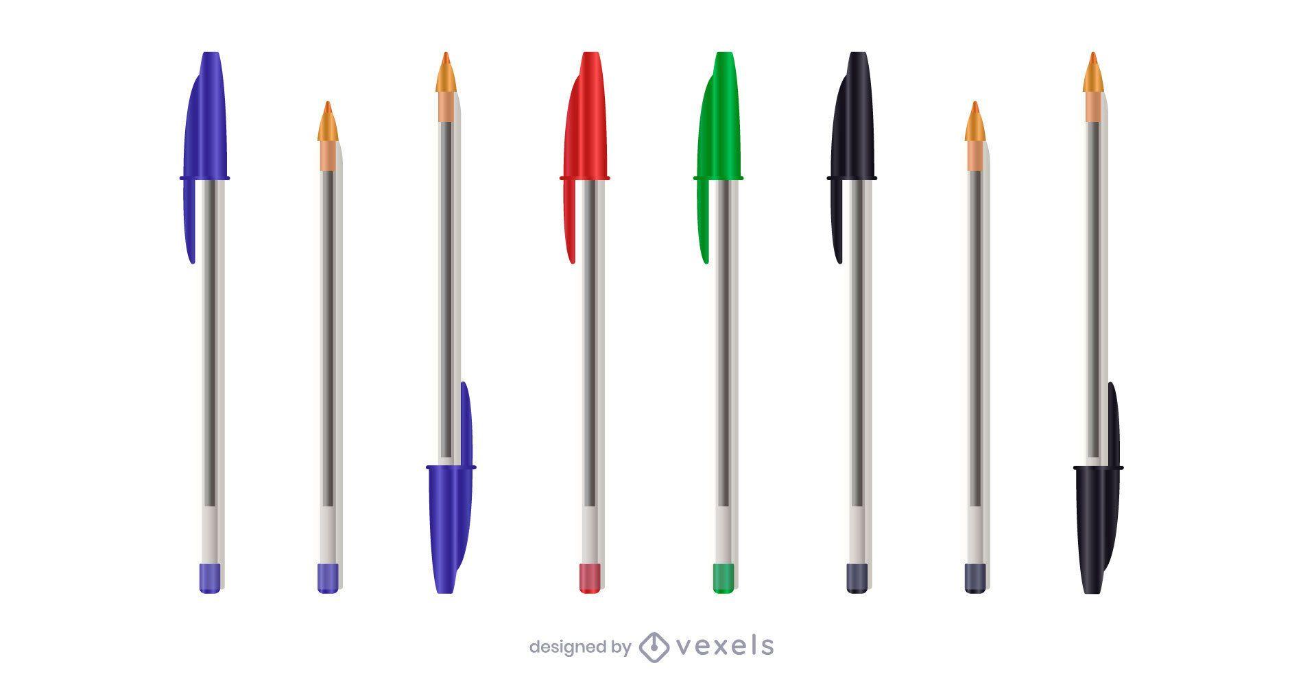 Realistic pen illustration set