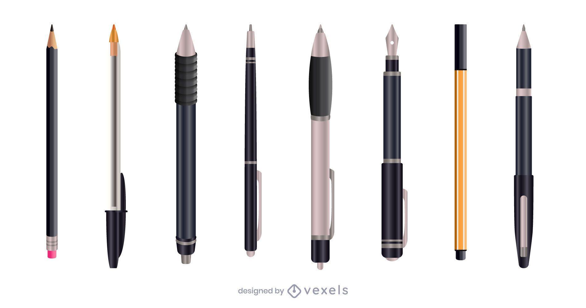Black realistic pen set