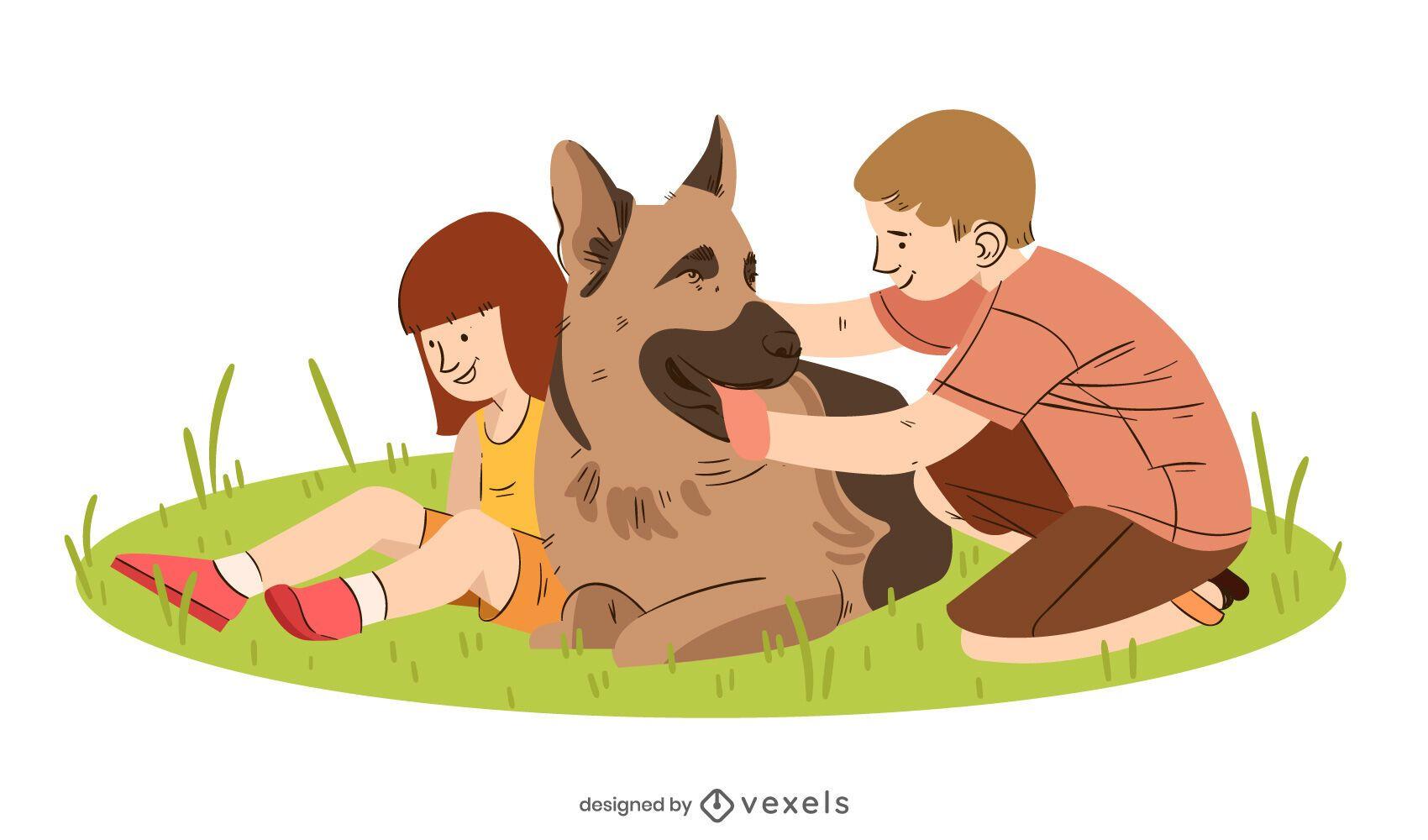 Ilustração pastor alemão crianças