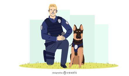 Diseño de ilustración de perro policía