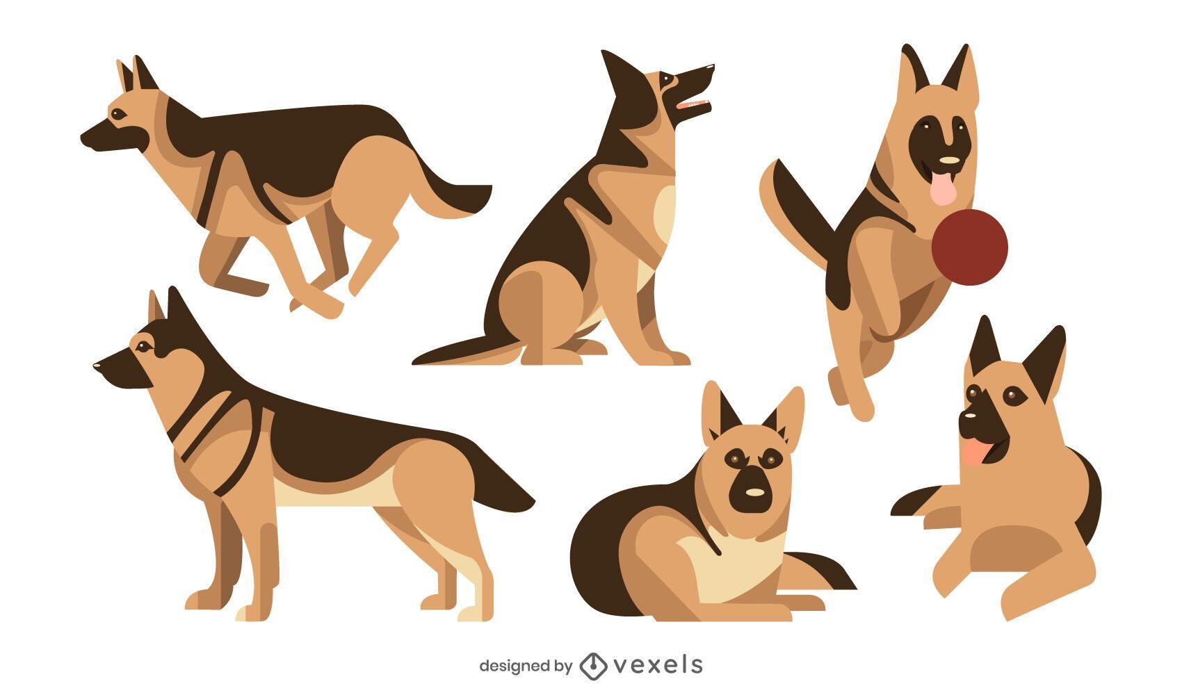 Conjunto de ilustración plana de pastor alemán