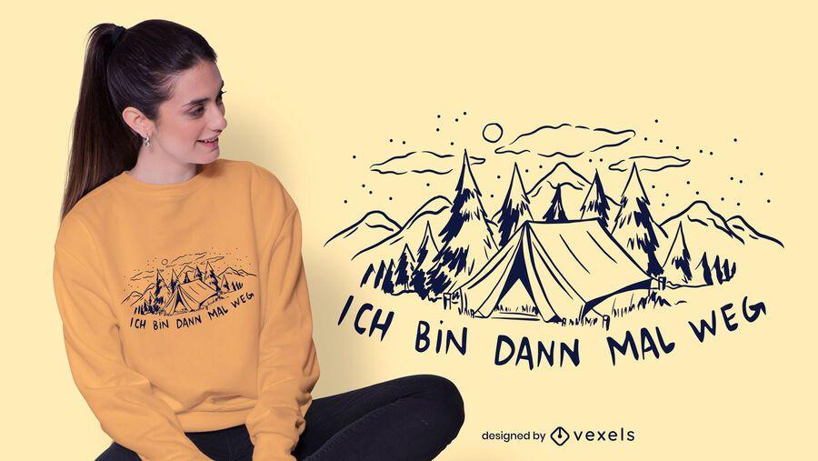 Diseño de camiseta alemana de camping.