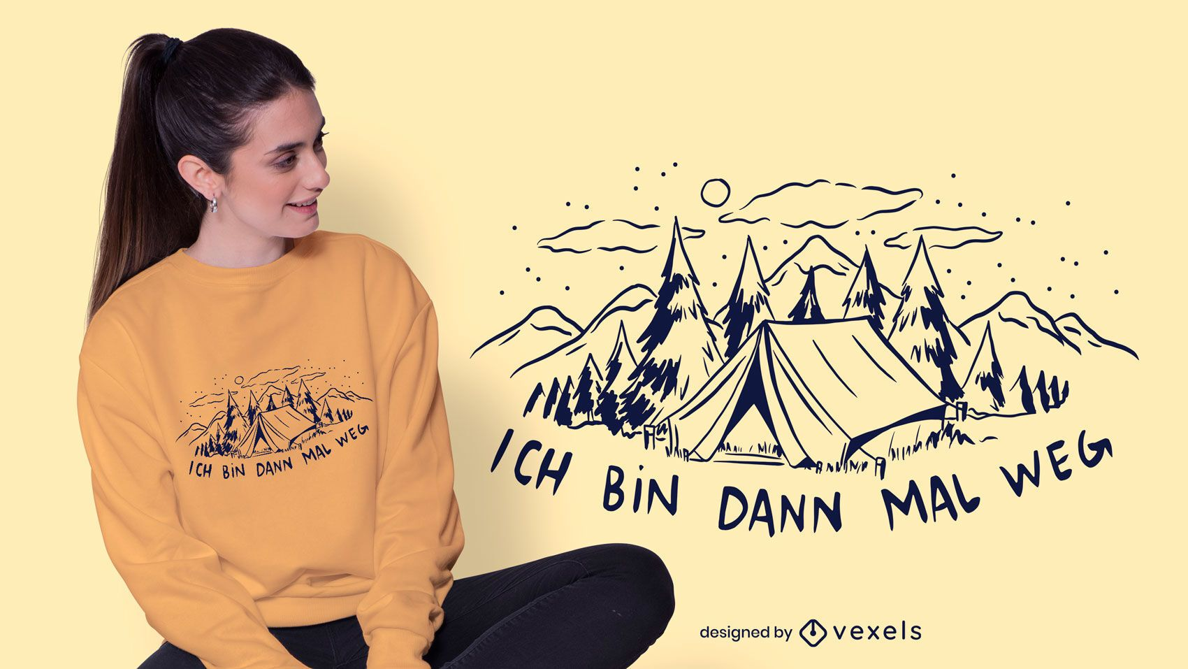 Dise?o de camiseta alemana de camping.