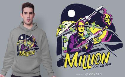 Design de t-shirt de homem de milhões de dólares