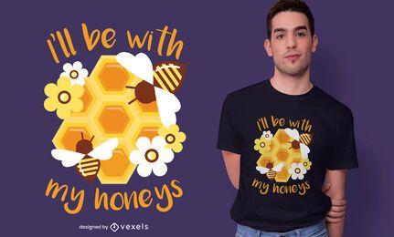 Diseño de camiseta de cita de apicultura