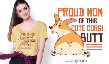 Diseño de camiseta mamá Corgi