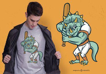 Design de camiseta de dinossauro de beisebol